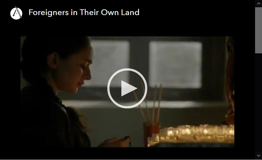 Screen shot of video player for Foreigners in Their Own Land, episode 1 of the PBS documetary series.