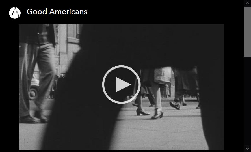 Screen shot of video player for Good Americans, episode 3 of the Asian Americans PBS documnetary series.