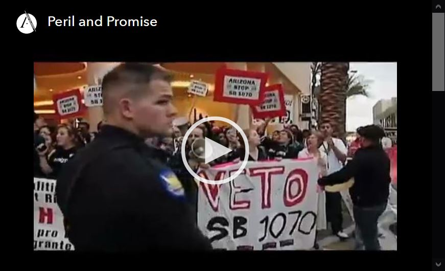 Screen shot of video player for Peril and Promise, episode 6 of the Latino Americans PBS documentary series.