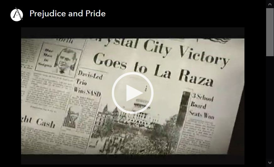 Screen shot ot video player for Prejudice and Pride, episode 5 of the Latino Americans PBS documentary series.