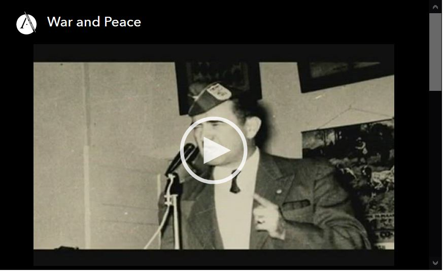 Screen shot of video player for War and Peace, episode 3 of the Lation Americans PBS documentary series.