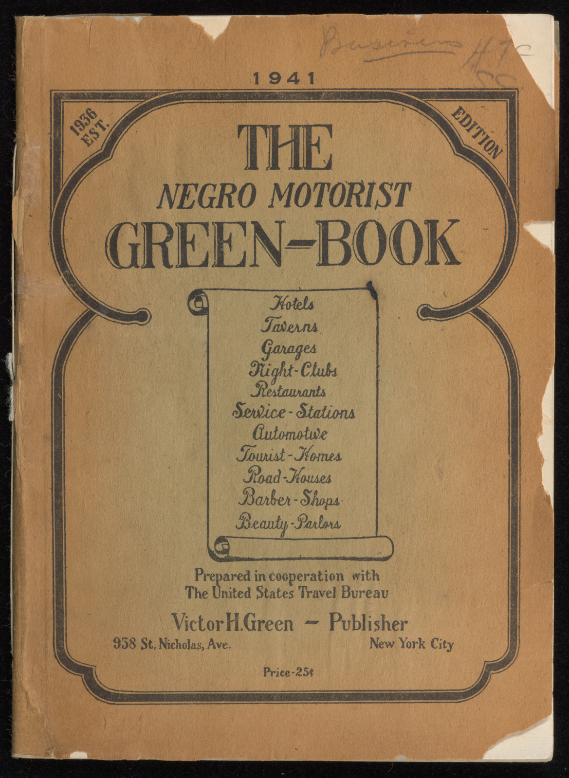 Green Book Cover 1941 Edition