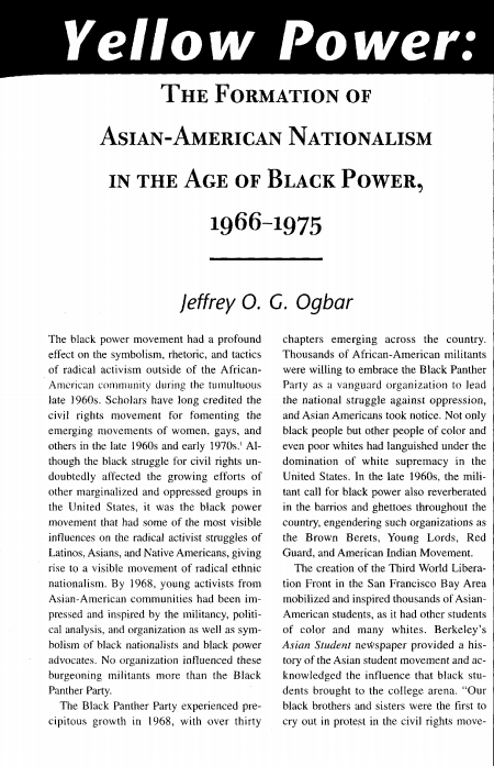 Yellow Power: Formation of Asian-American Nationalism in t he Age of Black Power article title page
