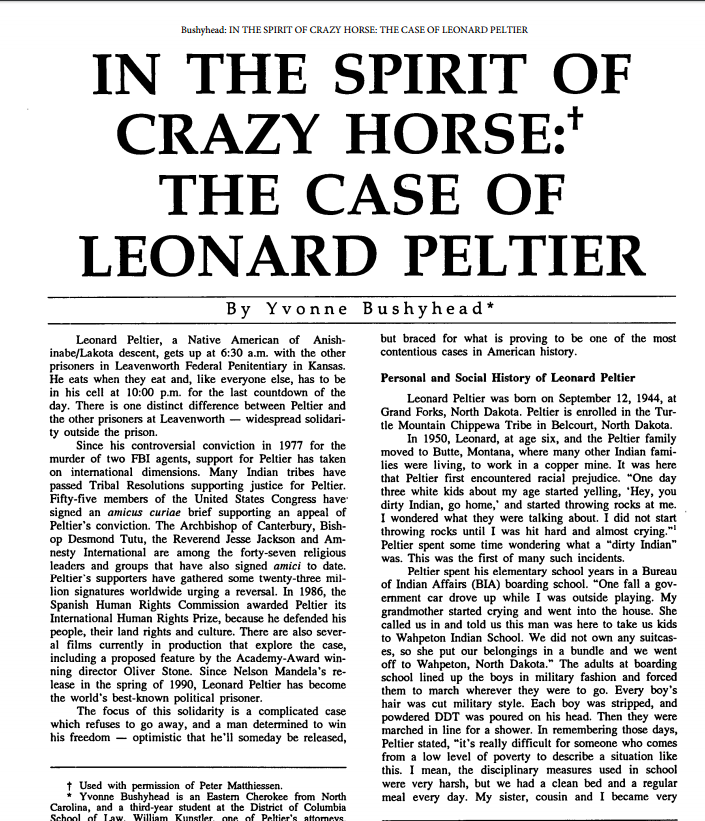 In the Spirit of Crazy Horse: The Case of Leonard Peltier Article Image