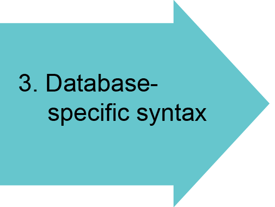3. Database-specific syntax