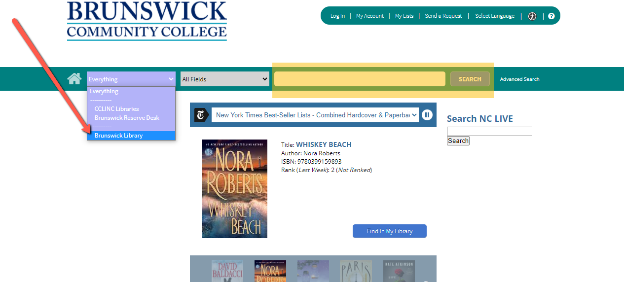 Basic search in BCC Library Catalog
