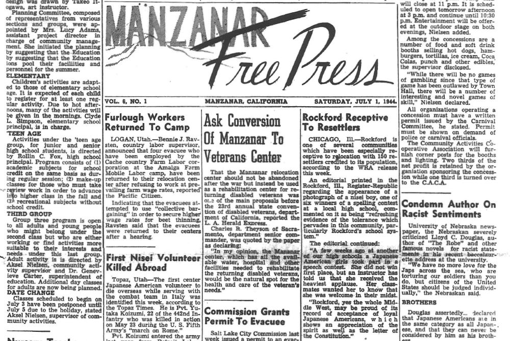 Japanese American Relocation Camp Newspaper