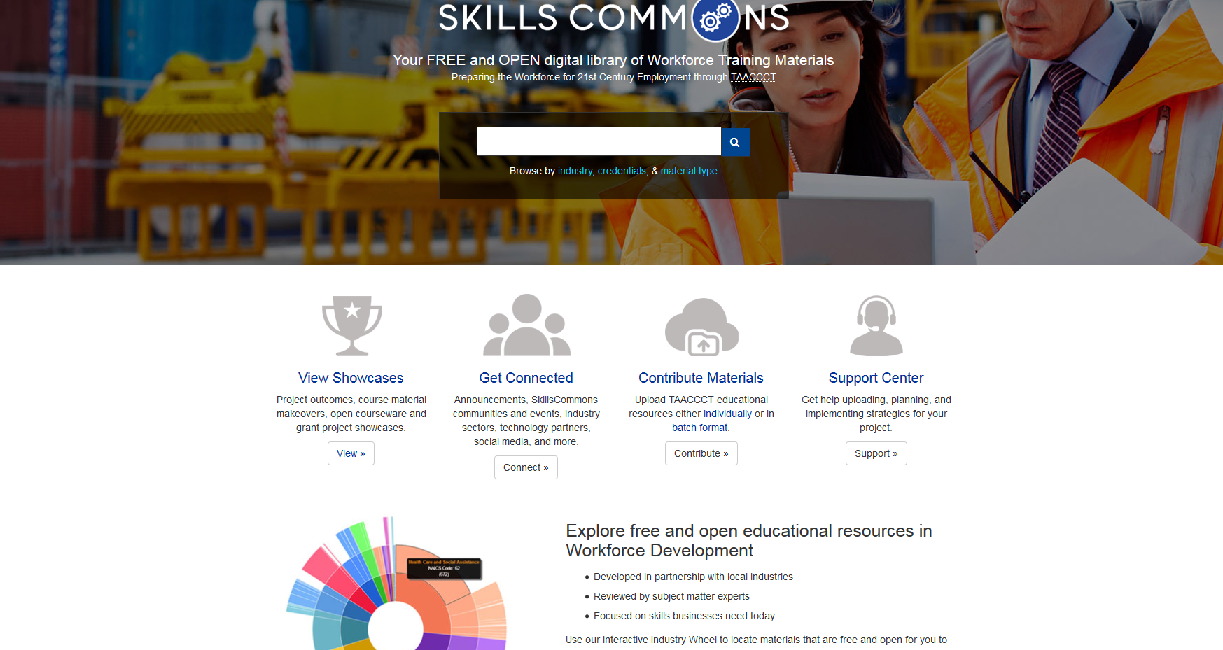 screenshot of skillscommons.org