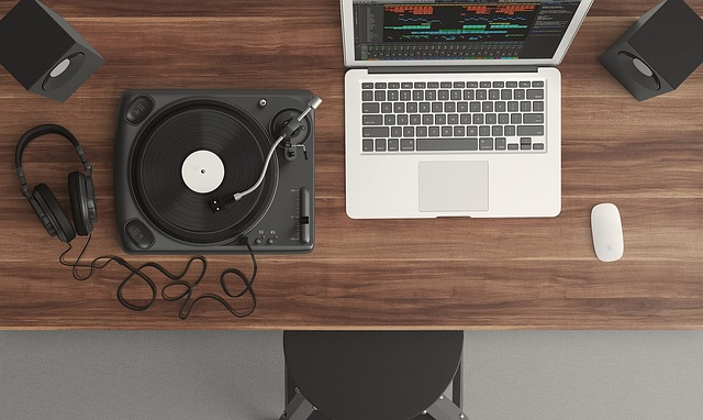 Laptop and record player