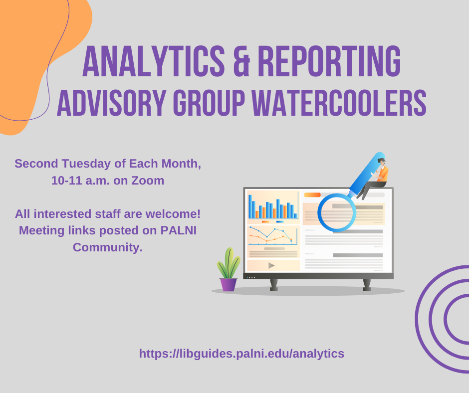 graphic with announcement of upcoming Analytics group watercoolers, second Tuesday of each month at 10 a.m. on Zoom. Meeting links posted on PALNI community site.