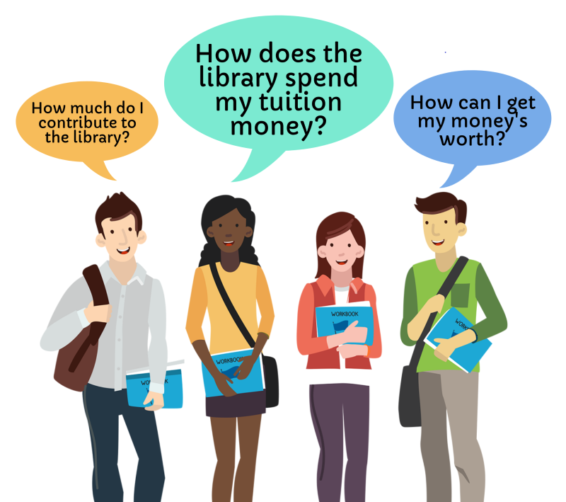 art of students asking how library spends tuition
