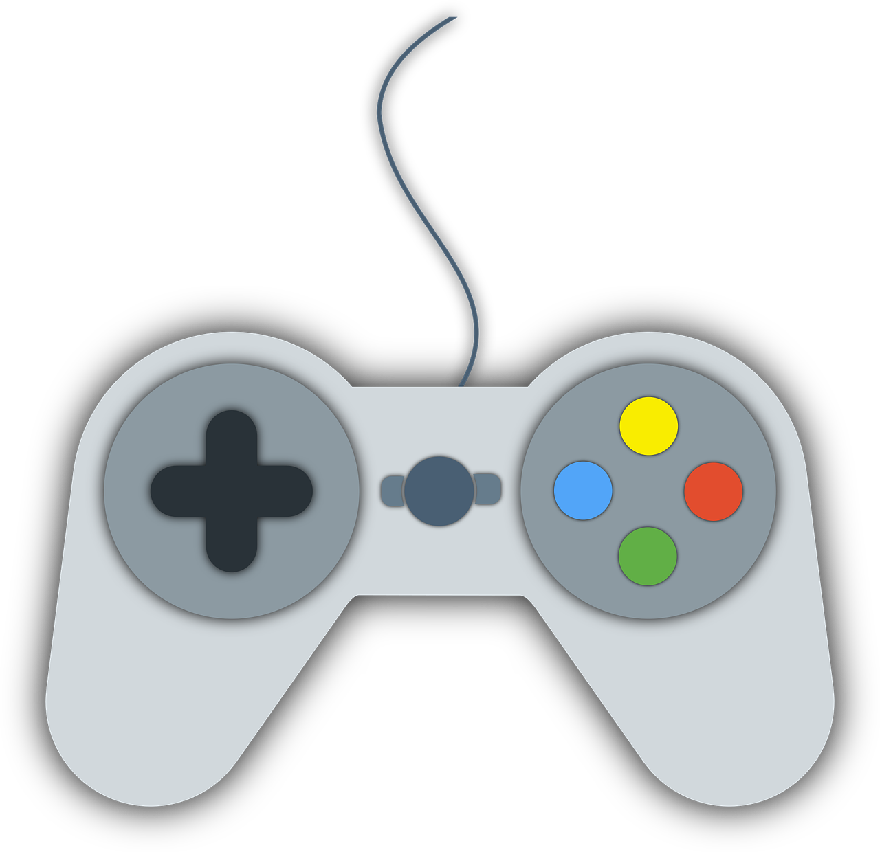 an illustration of a video game controller; a composite of a PSX controller and a SNES controller