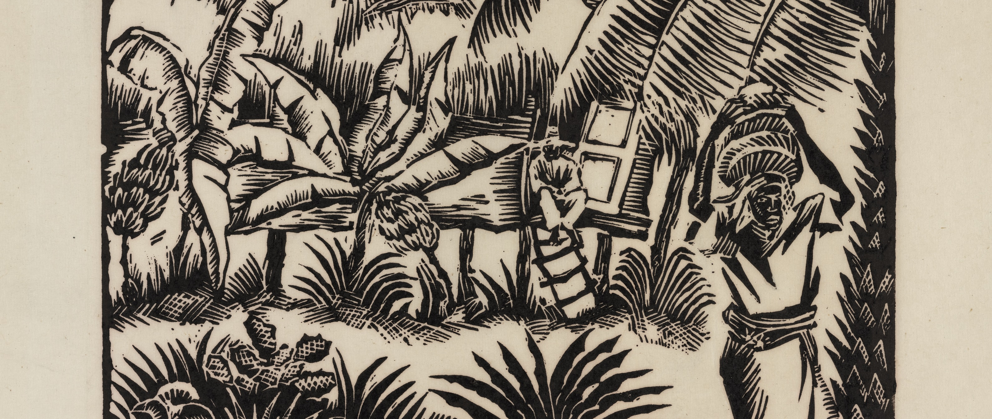 Black-and-white woodblock print (detail) showing African-American person holding basket of bananas.