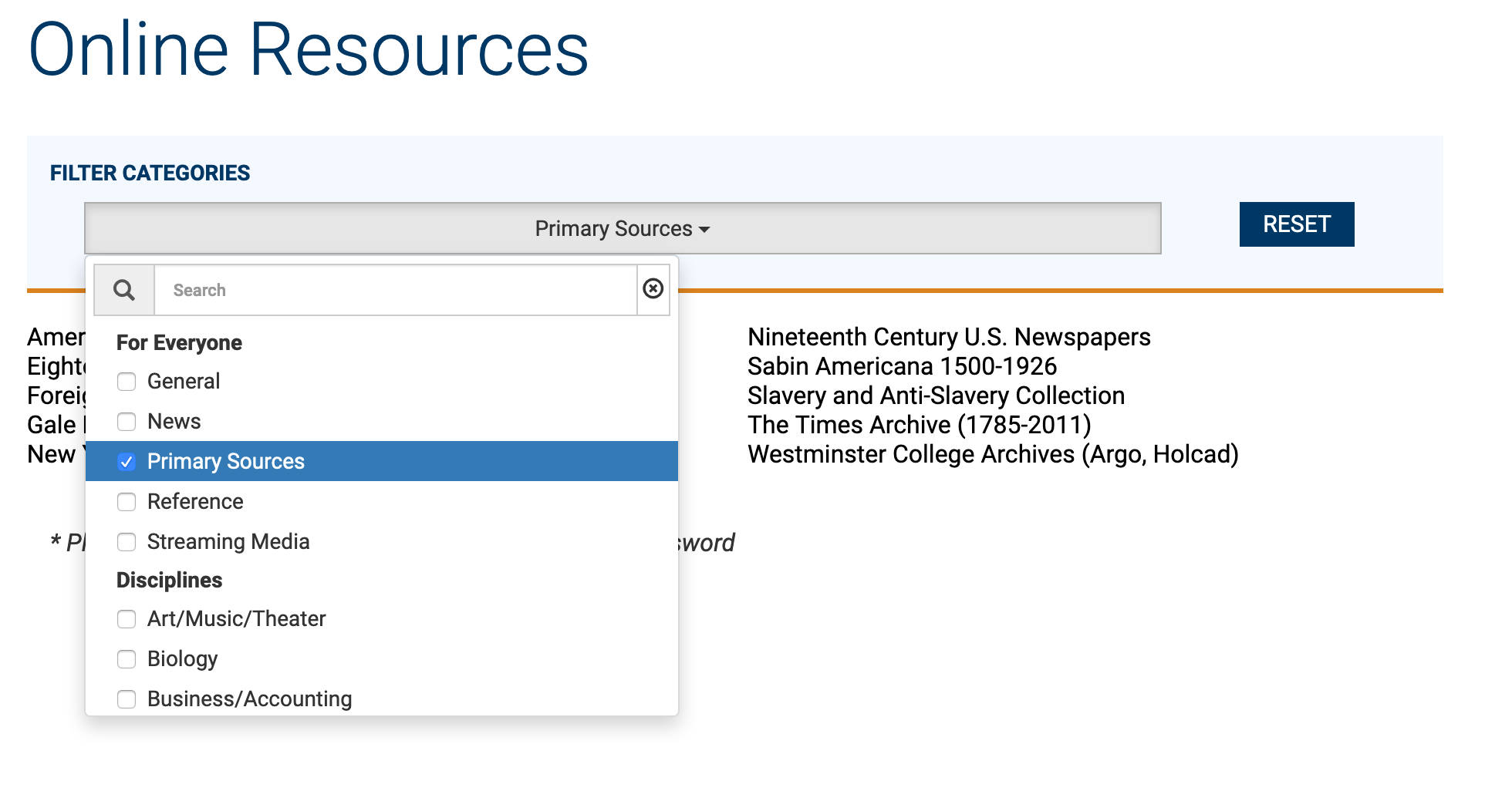 "Screenshot of the ""Online Resources page on the library's website. By using the drop-down menu, one can selece ""Primary Sources"" to see potentially relevant databases."