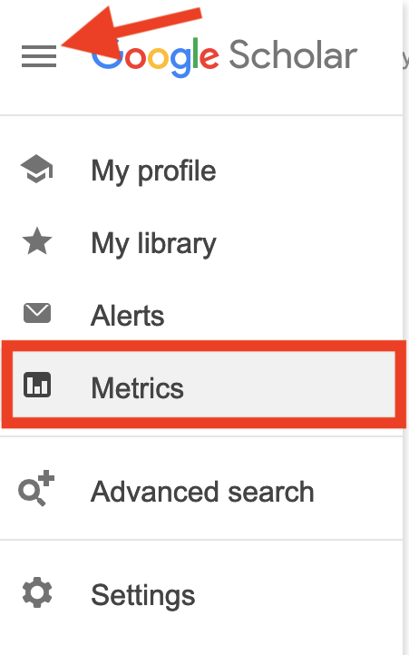 "Screenshot of Google Scholar with ""metrics"" highlighted"