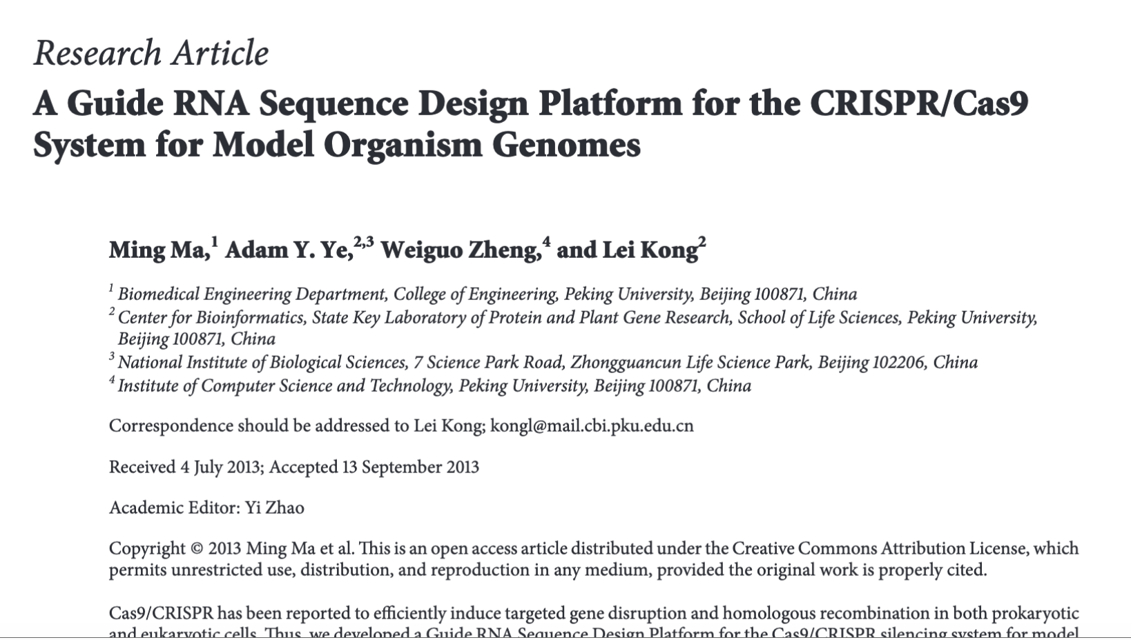 """A Guide RNA Sequence Design Platform for the CRISPR/Cas9 system for model organism genomes"""