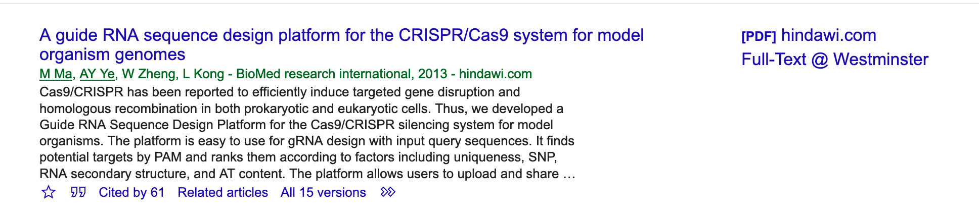 "Google Scholar result for ""A Guide RNA Sequence Design Platform..."" - 61 citations"