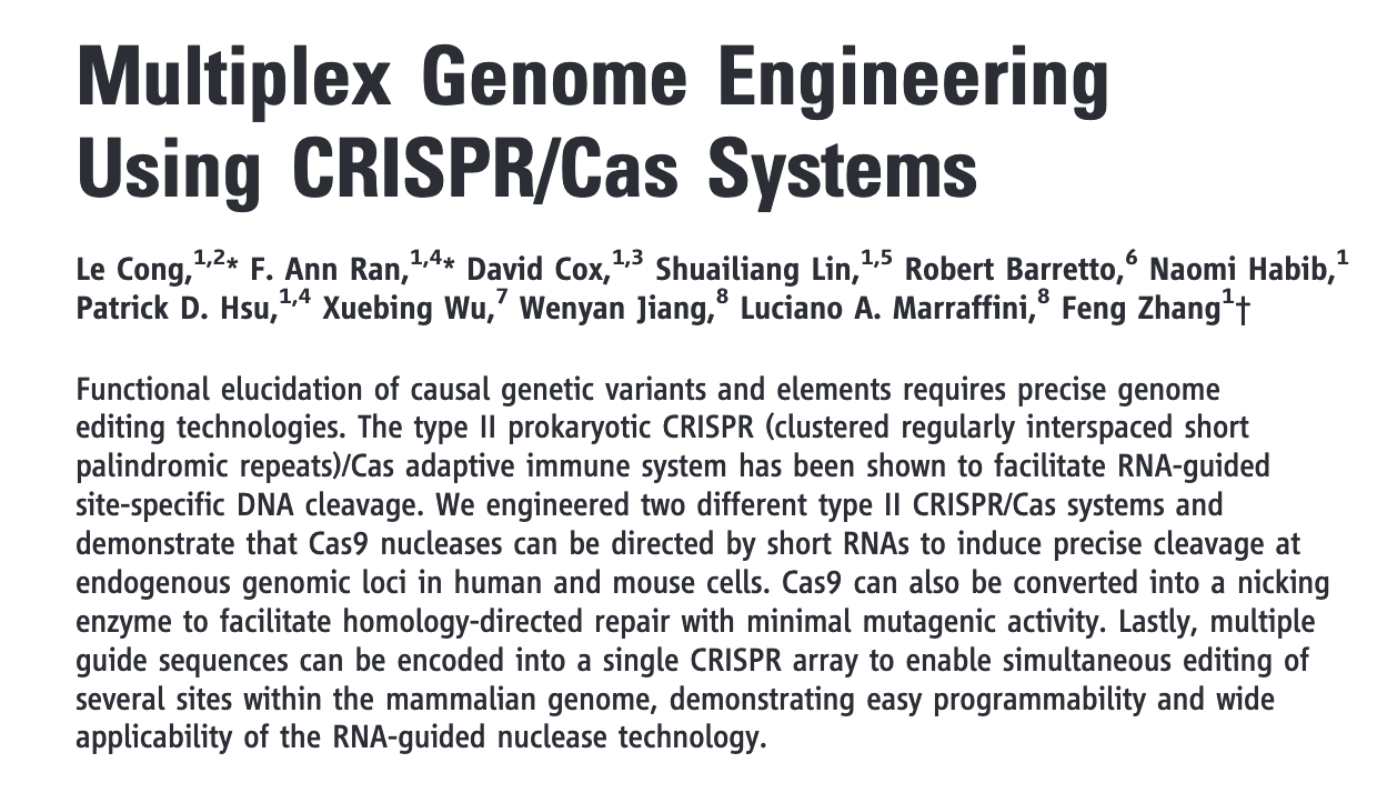 """Multiplex genome engineering using CRISPR/Cas systems"""