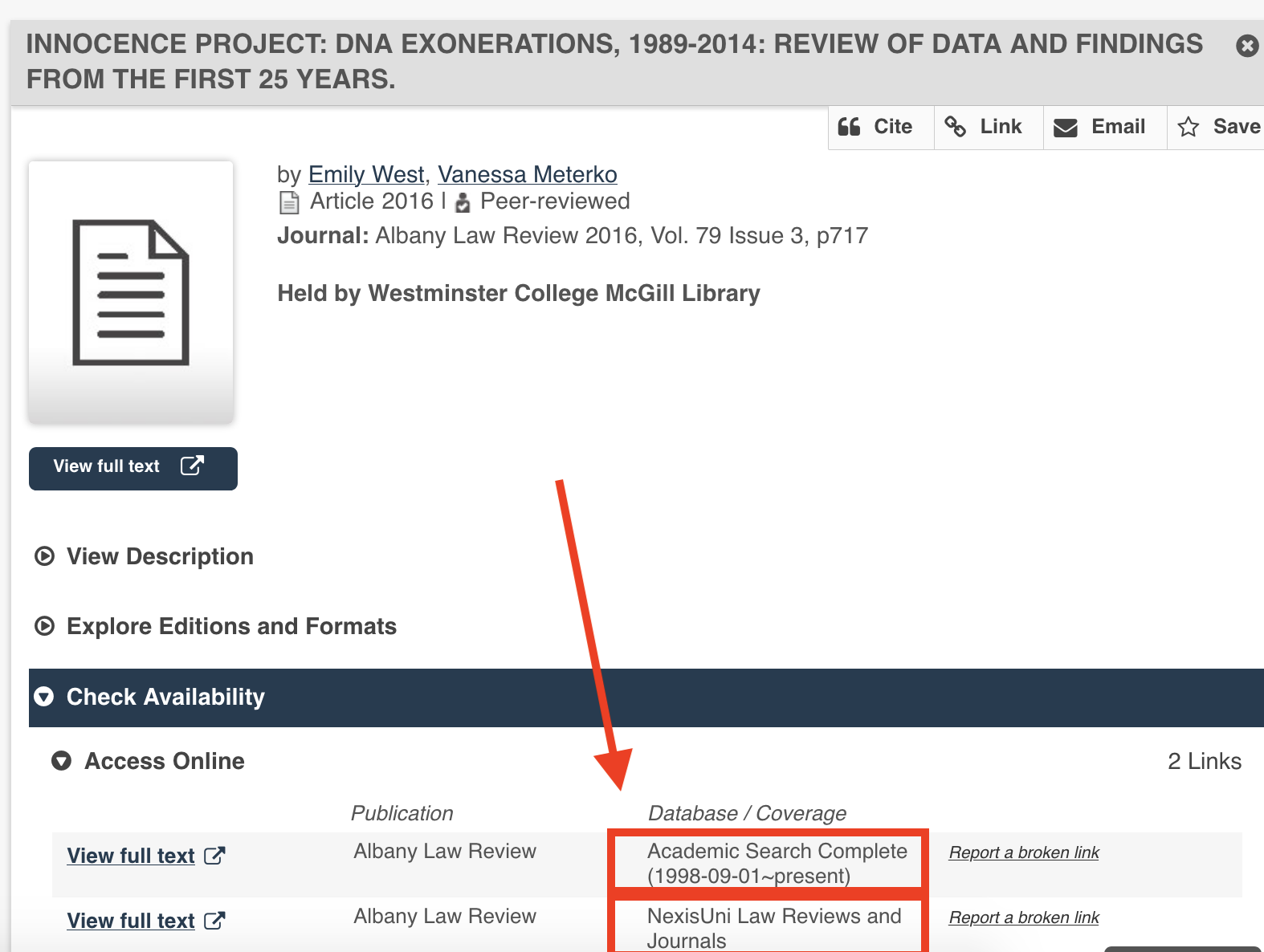 Screenshot of a WISE record showing the database listed under Check Availibity