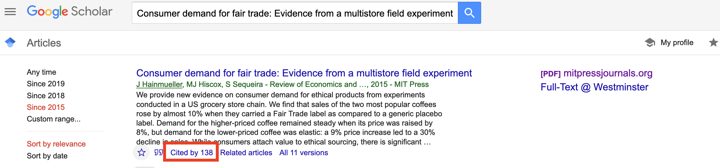 Google scholar search with Cited by link (below title and summary) highlighted