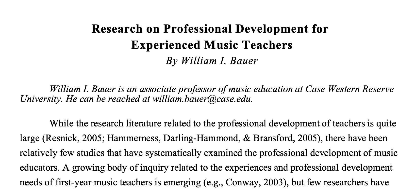 """Research on Professional Development for Experienced Music Teachers"" by William I Bauer"