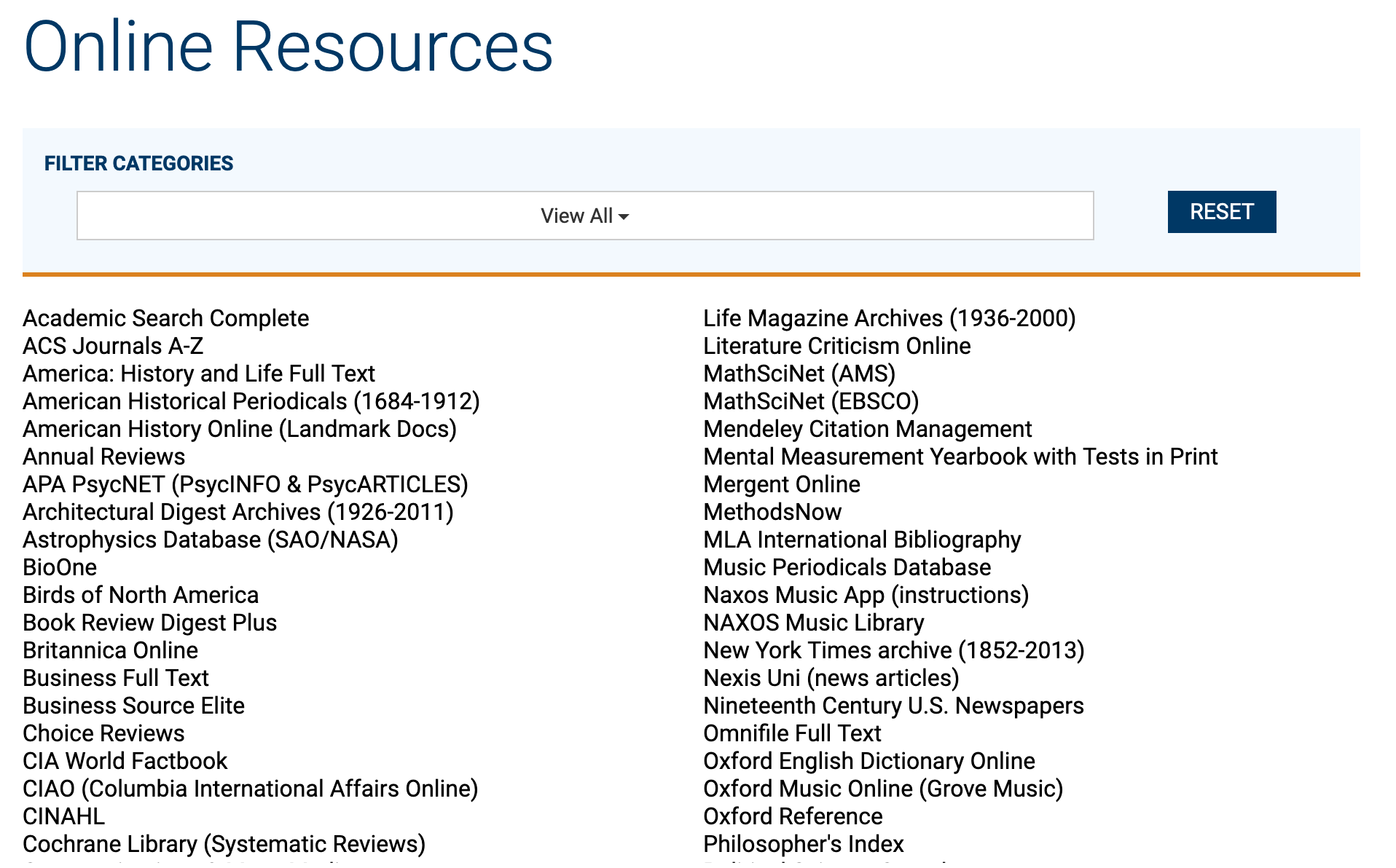 List of online resources from westminster.edu/library