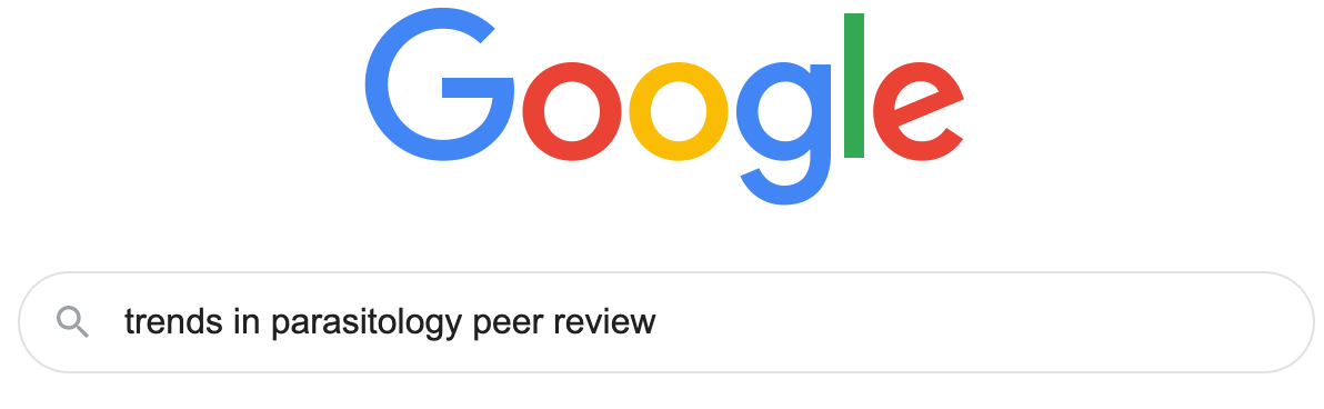 "Example google search for ""trends in parasitology peer review"""