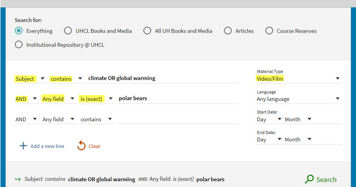 Shows advanced search options for material type, field, and term conditions