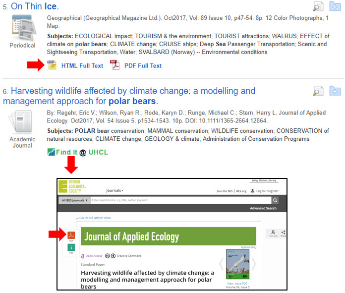 Shows sample database results with immediate full text and with full text found through Find It @ UHCL