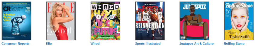 Covers of Consumer Reports, Elle, Wired, Sports Illustrated, Juxtapoz Art & Culture, and Rolling Stone