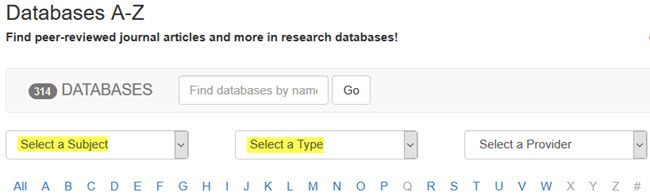 Shows select a subject and select a type filters in Databases A-Z