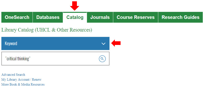 Library homepage Catalog search showing keyword search for critical thinking