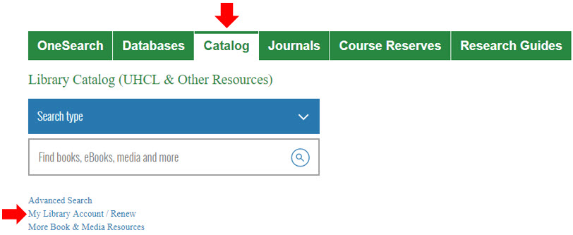 Shows My Library Account/Renew link in library homepage Catalog options