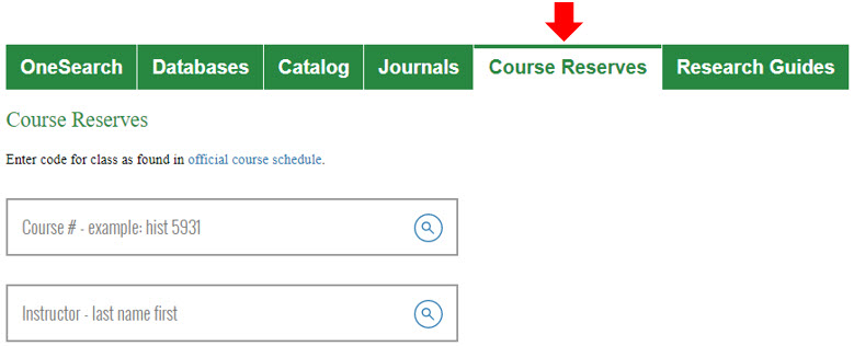 Library homepage central search box for Course Reserves