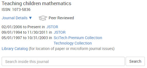 Journals List entry for Teaching Children Mathematics, showing online coverage in JSTOR and other options