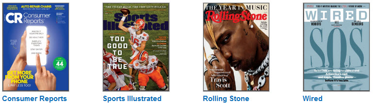 Covers of Consumer Reports, Sports Illustrated, Rolling Stone, and Wired
