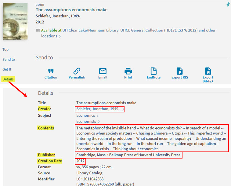 Shows location in sample book record details for the types of information described