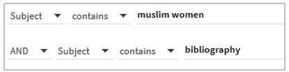 Shows subject search for muslim women and bibliography