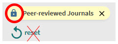 Shows padlock for peer-reviewed journals with an X over reset