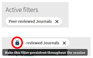 Shows active filter and available padlock for peer-reviewed journals