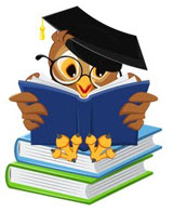 Cartoon owl wearing mortar board and glasses, reading while sitting on a stack of books