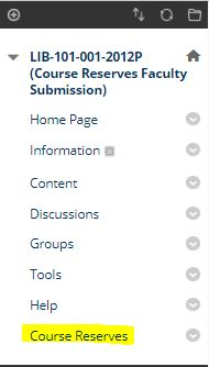 Course Reserves button found in Blackboard course page