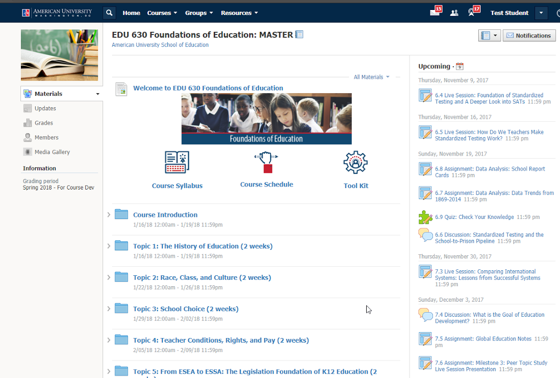 Image of the home page of the Learning Management System used by School of Education Online Program