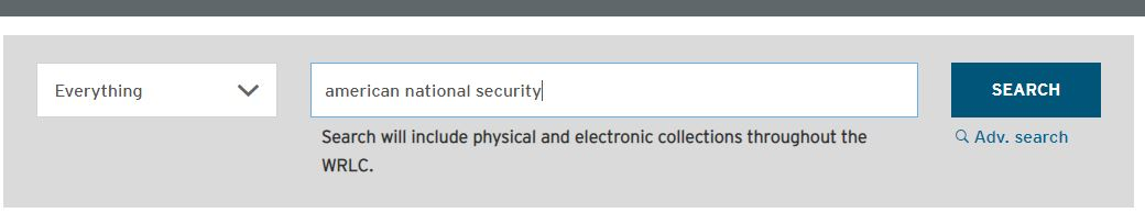 Search box on main library webpage