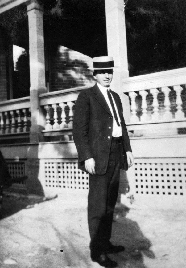 P. I. Nixon standing in front of the New Convalescent Home in San Antonio, sometime in the 1930's