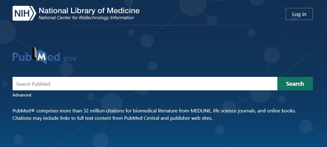 Image of PubMed homepage