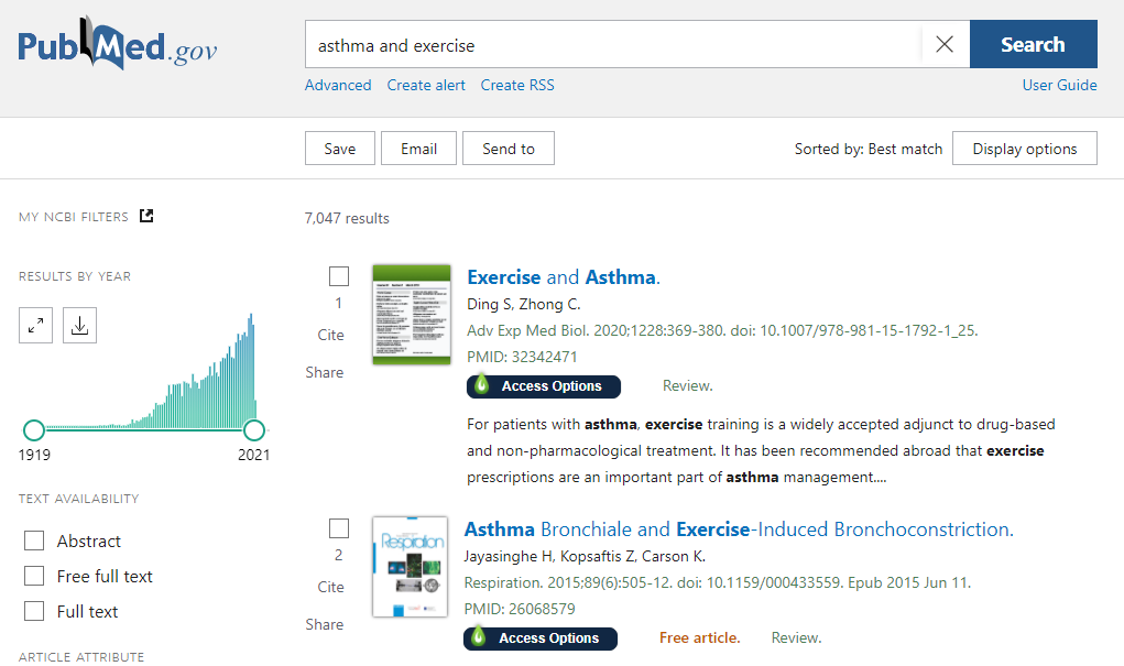 Image of PubMed result summary