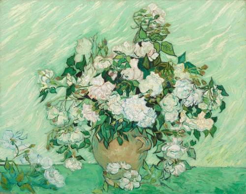 oil painting of white roses in a ceramic vase