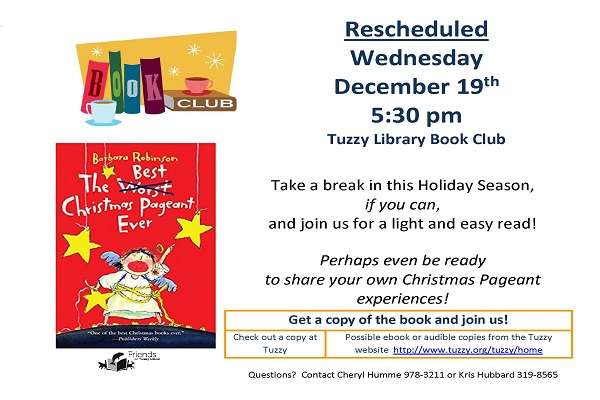Tuzzy Book Club Discussing The Best Christmas Pageant Ever  Dec. 15 5:30pm