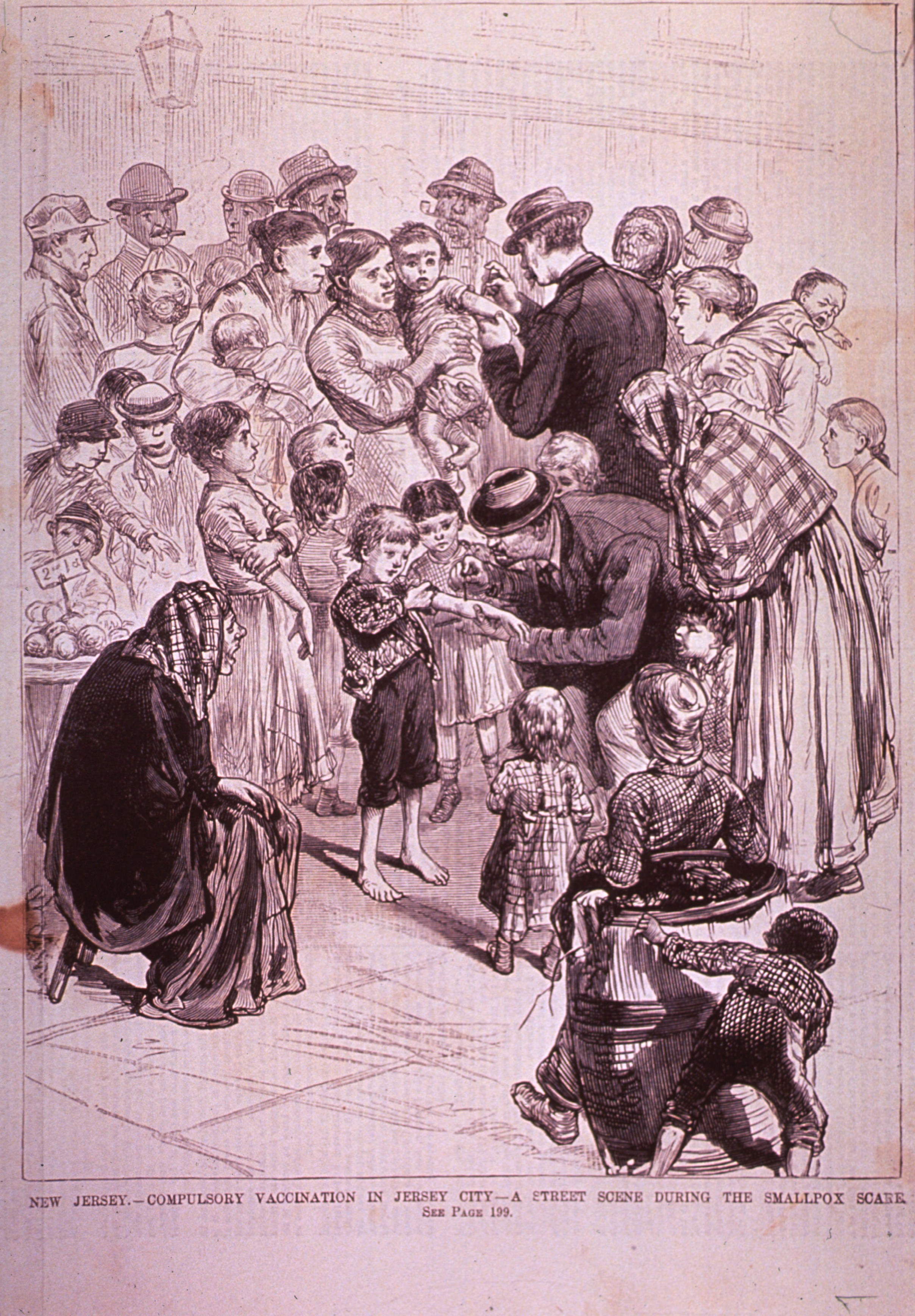Children receiving vaccinations during a Smallpox scare in Jersey City, New Jersey.